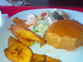Fried plantain and moi moi